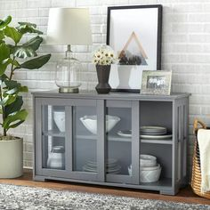 Pacific Storage Unit With Glass Charcoal Gray - Buylateral : Target