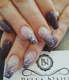 22 Trendy nails purple glitter new years New Year's Nails, Hair And Nails, Nails Yellow, Plum Nails, Purple Glitter Nails, Glittery Nails, Glitter Wine, Nailart, Coffin Nails Matte