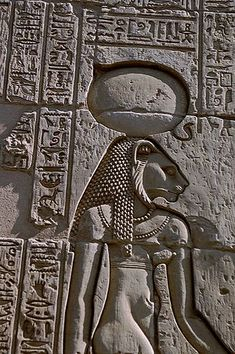 *SEKHMET:The warrior goddess Sekhmet,shown w/ her sun disk + cobra crown.She is also a solar deity, sometimes called the daughter of the sun god Ra + often associated w/the goddess Hathor + Bast. She bears the solar disk + the uraeus which associates her w/ Wadjet  royality.W/these associations she can be construed as being a devine arbiter of the goddess Ma'at(Justice, or Order)in the Judgement hall of Osiris, associating her w/the Wedjat(later the Eye of Ra)+ connecting her w/ Tefnut as…