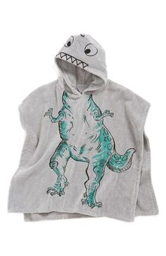 Stella McCartney Kids Hooded Dinosaur Towel (Boys) | Nordstrom