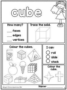 Homeschool Worksheets, Homeschool Kindergarten, Preschool Shapes, Life Skills Classroom, Eureka Math, 3d Figures, 3d Shapes, Learn To Read, Kids Education