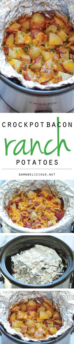 Slow Cooker Cheesy Bacon Ranch Potatoes - The easiest potatoes you can make right in the crockpot - perfectly tender, flavorful and cheesy! Make sure you stir them before serving as the potatoes on top were pretty dry and the bottom ones were a bit greasy.