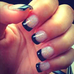 prom nails but a light pink or white instead of black