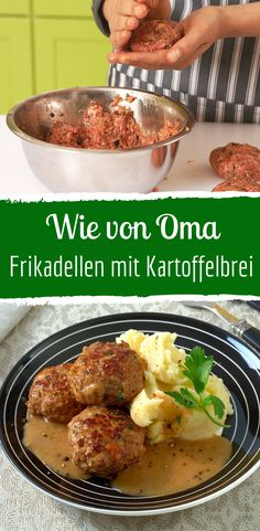 Meatballs with mashed potatoes and gravy-Frikadellen mit Kartoffelbrei und Soße Do you also love classic home cooking? Healthy Beef Recipes, Hamburger Meat Recipes, Beef Recipes For Dinner, Slow Cooker Recipes, Recipes Using Ground Beef, Carne Picada, Quick Easy Meals, Mashed Potatoes, Pasta