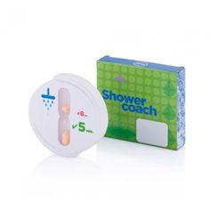 Witte ABS kast met grote zuignap op achterzijde, 5 minuten zandloper met oranje kleurig zand, inclusief geschenkverpakking. Geregistreerd ontwerp® - Eco - Relatiegeschenken