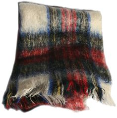 Extra Large, Extra Long 1950s Mohair Wrap Scarf. Soft and ultra warm in a Dress Stewart plaid. Made in Scotland. Excellent vintage condition. 6ft by 2ft.