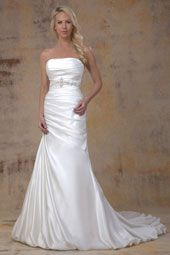 Pallas Athena wedding dress/gown- white mermaid style wedding dress with waist beading, strapless and straight across neckline. For the Bride Boutique Ft. Myers, Florida