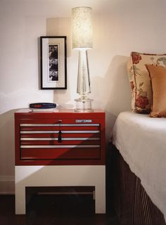 Tool chest repurposed as bedside table | Transitional Modern | Tommy Chambers Interiors, Inc.| Los Angeles