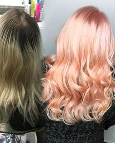 Root retouch with @joico Creme Lightener and @Trionics enzyme developers. Pretoned with 09Pearl. I used @joicointensity in Rose and Peach diluted with @olaplex 2. Are you kidding me with that shine?! Healthy hair is happy hair