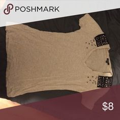 Short sleeve top with decoration on neckline This is a beige tan color with cute neckline. Great summer buy and fabulous with jeans XOXO Tops Tees - Short Sleeve