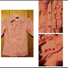 Red striped shirt Classic red and white striped short sleeve button up with ruffle detail and buttons on the sleeves. Brand is Passport size medium. Excellent condition. Passport Tops Button Down Shirts