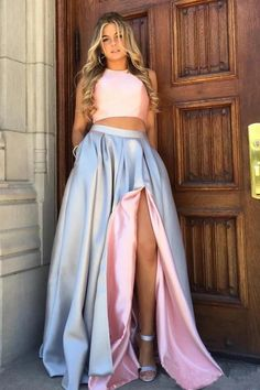 A Line Pink Grey Double Sides Wearable Prom Dresses High Slit Taffeta Evening Dresses SFB, This dress could be custom made, there are no extra cost to do custom size and color. Pink Prom Dresses, Mermaid Evening Dresses, Cheap Prom Dresses, Homecoming Dresses, Prom Gowns, Quinceanera Dresses, Dresses Uk, Party Dresses, Ball Gowns