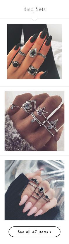 """Ring Sets"" by adorablequeen ❤ liked on Polyvore featuring jewelry, rings, nails, makeup, accessories, midi rings jewelry, mid knuckle rings, midi rings, top finger rings and set rings"