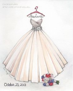 Sketched this Larzaro gown for a bride.  Love this fun sherbet color for a wedding gown.  #catiethesketchlady