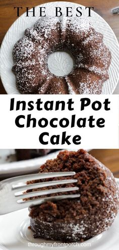 This Instant Pot chocolate cake is super easy. Super moist and fudgie. It's made in a bundt pan which makes it super cute! Great recipe to have on hand for snacking. Instant Pot Cake Recipe, Instant Pot Dinner Recipes, Easy Cake Recipes, Dessert Recipes, Muffin Recipes, Pressure Cooker Cake, Wacky Cake, Instant Cooker, Cookies