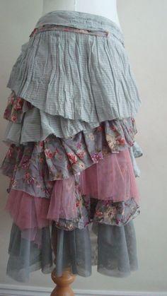 Upcycled Skirt Woman's Clothing Greay Gray by BabaYagaFashion