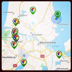 Acht Stampions locaties open (groene pointers), stempel Fort bij Edam binnen (lege pointer)! #StellingvanAmsterdam #FortbijEdam #app #cultuurtoerisme