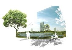 Architectural visual with trees and shadow effects