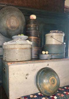 Primitive Home Decorating, Primitive Decor, Prim Decor, Country Blue, Old Boxes, Buckets, Porches, Pantry, Blues