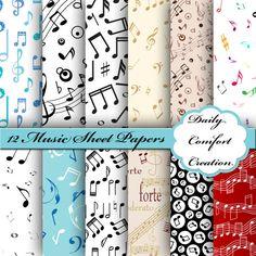 Sheet Music Digital Paper Music Digital by DailyComfortCreation