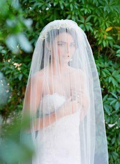 Long, sheer girlwithaseriousdream veil: http://www.stylemepretty.com/2015/07/23/romantic-fairytale-santa-barbara-wedding-inspiration/ | Photography: Jose Villa - http://josevilla.com/