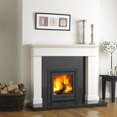Balmoral Insert Stove Package The Balmoral Inset Stove Package includes wood burning stove Inset Fireplace, Log Burner Fireplace, Wood Burning Fireplace Inserts, White Fireplace, Fireplace Surrounds, Fireplace Ideas, Basement Fireplace, Fireplace Modern, Inset Log Burners
