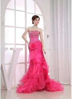 Organza Beaded Lace Up Hot Pink Formal Dresses