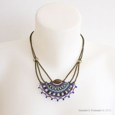 Brass Chain Necklace with Beaded Fan Pendant in Purple, Turquoise, Blue
