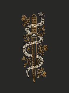 Art, sword, snake, tattoo,pattern