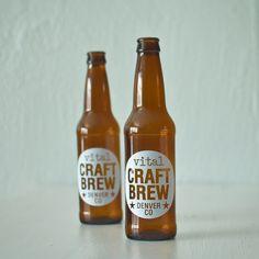 CUSTOM printed beer bottles - set of 60 screen printed brown glass bottles.
