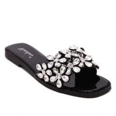 07a8fb877482c7 Vintage Flat Heel and Rhinestone Design Slippers For Women - Black - 38