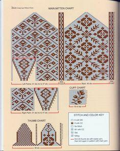 Knitting Charts, Knitting Stitches, Knitting Designs, Knitting Projects, Hand Knitting, Knitting Patterns, Crochet Patterns, Crochet Mittens Free Pattern, Knit Mittens