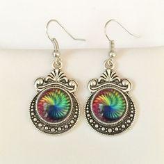 12mm Rainbow Swirl Glass Earrings or Necklace
