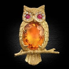 $6,950.00 -  18k Yellow Gold Citrine Owl Pin | Birds | Pins & Brooches| ScullyandScully.com