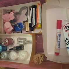 Cheapest drawer organisers ever and no trekking round the shops. Just cut and bend cardstock and stick together.