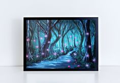 Mystic Forest Print, Spooky Forest Print, Trees Print, Forest by night von TerraSomniaArt auf Etsy Museum, Fantasy Kunst, Tree Print, Poster Making, Paintings For Sale, Landscape Art, Mystic, Giclee Print, Poster Prints