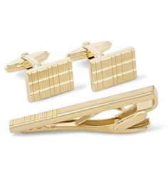 The smallest details can make or break an outfit, and Lanvin's sophisticated cufflinks and tie clip set pulls it all together. Designed in an etched stripe motif, they've got an understated yet well-considered look to them. A gift that lasts a lifetime.