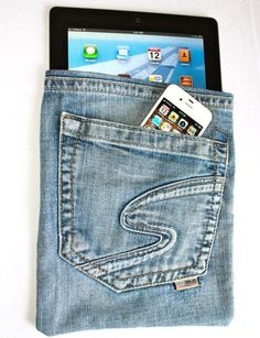 Upcycled Designer 'Silver Jeans' into an iPad Case/Bag/Pouch/Sleeve with iPhone Pocket