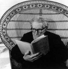 Ezra Pound reading a book sitting on a wicker chair, Venise, 1963 -by Walter Mori  [+]  from and more : 'Writers reading' in Panorama