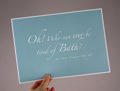 Jane Austen Bath quote poster Northanger by KateMcDonnellDesign, $12.50