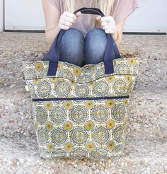 Mustard & Navy Medallion Carry-All - Hand-spun, woven, and block printed in India