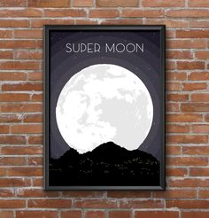 Super Moon poster • design and illustration by Becci Collins #SuperMoon #Design #GraphicDesign #Space #Illustration #Arizona