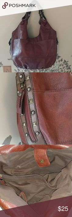 a.n.a Oversized Handbag EUC ??Great for Fall?? Reddish Brown colored handbag with rivet detailing and side zipper pockets shown in second pic. The last picture is the bottom of the bag. a.n.a Bags Satchels