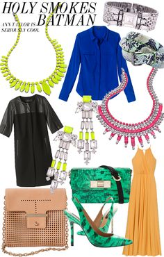 Ann Taylor Sunburst Neon Yellow and Supernova Neon Pink Necklace. Green Snakeprint Handbag. Cobalt S