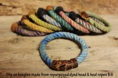 rope bangles made from recycled team roping ropes.