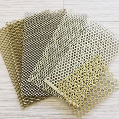 All that glitters.the gold effect finish for our mood board - samples from Cadisch MDA Diy Furniture Renovation, Furniture Design, Furniture Vintage, Industrial Furniture, Material Board, Finishing Materials, Perforated Metal, Metal Mesh, Door Design