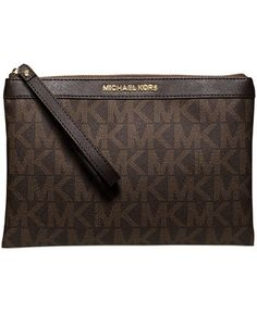 10 3/4 x 7 (Size listed is incorrect) 98 MICHAEL Michael Kors Signature Tech Zip Clutch, a Macy's Exclusive Style - Handbags & Accessories - Macy's