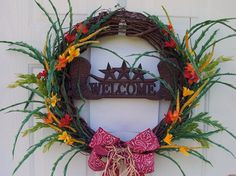 western wreath | Western Wreath with boots and Red bandana ribbon by CustomCreated