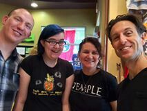 Brett Bass and Jon Murphy of Grandpa's Cough Medicine with local artists Shymiera Entwisle and Laura Petellat-Entwisle