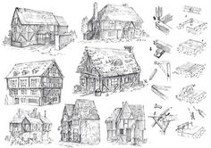 How to draw a village - historical buildings - great Inspiration for a book / Story / manga - Drawing Reference